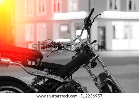 Moto bike in Tromso with light leak background