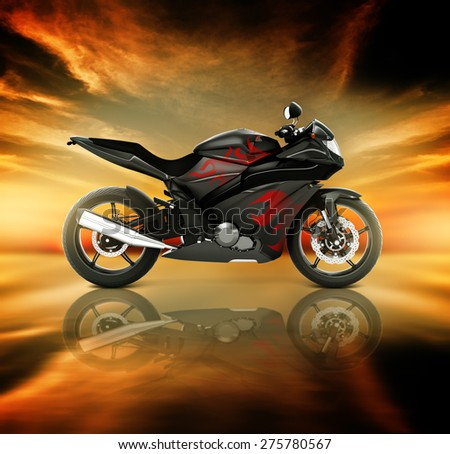 Motorcycle Motorbike Bike Riding Rider Contemporary Black Concept