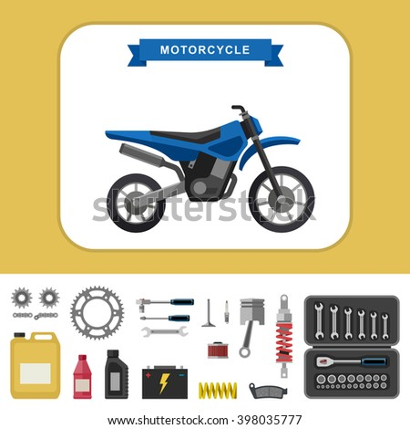 Motorcycle with parts in flat style. Simple illustration of motocross bike with moto parts and tools icons. Raster version.