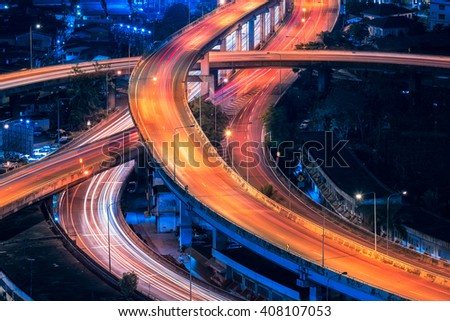 Motorway, Expressway, Freeway the infrastructure for transportation in modern city, urban view at night time