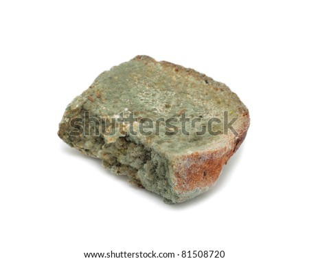 Mouldy bread, isolated on a white background
