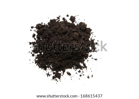 Mound of organic earth isolated on white background