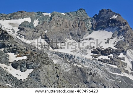 Mount Amiante in the Grand Combin massif with the Sonadon glacier, in the southern swiss alps, close to the italian border