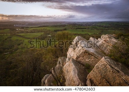 Mount Barker rocky hill top scenic view at dusk