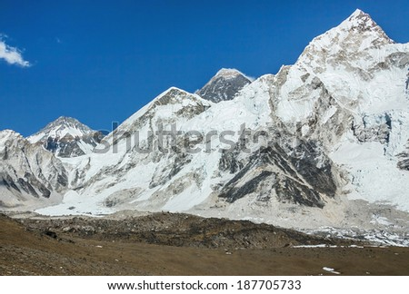 Mount Everest (8848 m) at sunset (view from slope of Kala Patthar) - Nepal, Himalayas