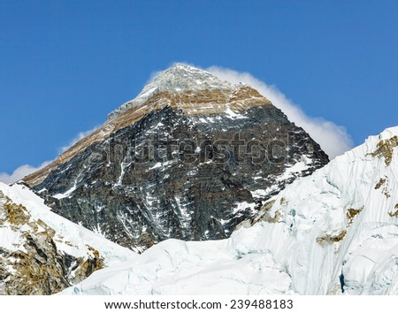 Mount Everest (8848 m), view from slope of Kala Patthar - Nepal, Himalayas