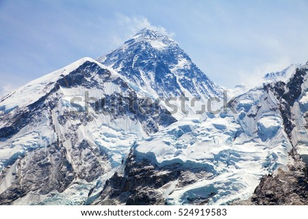 Mount Everest. View of top of Mount Everest from Kala Patthar way to mount Everest base camp, Everest area, khumbu valley - Nepal