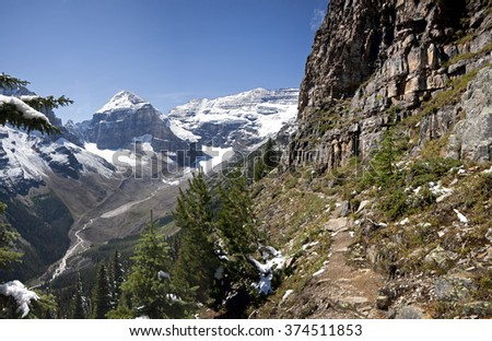 Mount Lefroy (left), Mount Victoria (right) Devil's Thumb Hike, Scramble Lake Louise, Banff National Park, Alberta, Canada Picture taken on August 22, 2015