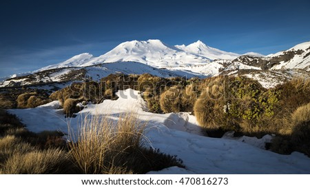 Mount Ruapehu volcano and Turoa Ski field in New Zealand.