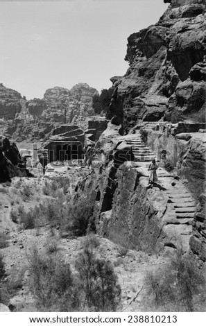 Mount Sinai, Trans-Jordan. Petra, stairway to the great high place and funeral chapel, circa 1898-1946