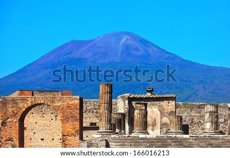 Mount Vesuvius and ruins of ancient town Pompeii in Italy