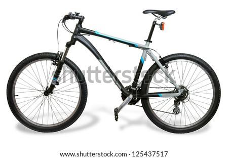 Mountain bicycle bike with shadow isolated on white background