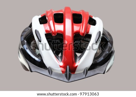 mountain bike helmet, floating on gray background - stock photo