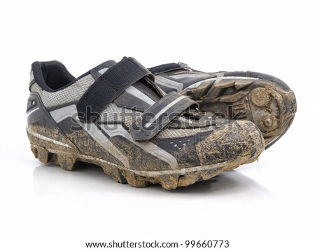 mountain bike shoes on white background - stock photo