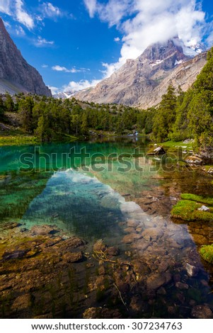 Mountain lake view vertical. Scenic landscape with vibrant water surface forest and high mountain peak blue sky