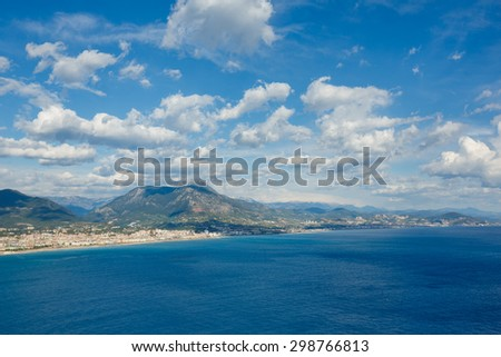 Mountain landscape from top of peninsula in Alanya, Turkey