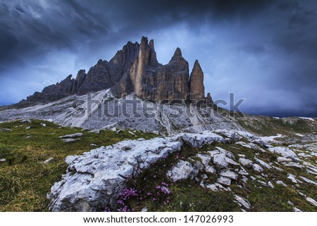 Mountain landscape in the Italian Dolomite Alps in spring
