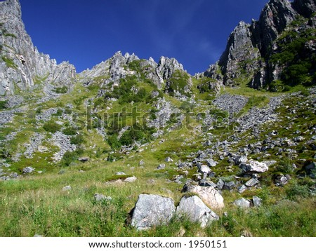 Mountain landscape - rockfall valley
