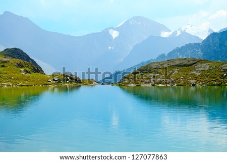 Mountain  Range with  its  Reflection in the Glacial Lake, altai, siberia, Russia