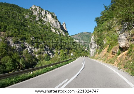 mountain road in Serbia on the border with Montenegro
