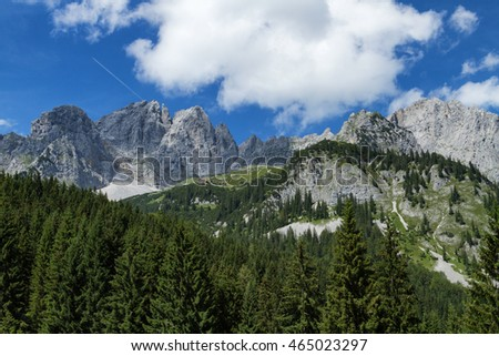 Mountain scene in the Alps austrian travel destination Wilder Kaiser chain, Tyrol.