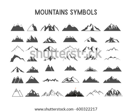 Mountain Vector Shapes Elements Collection Isolated Stock