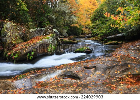 Mountain stream in the Blue Ridge Mountains of North Carolina in autumn.