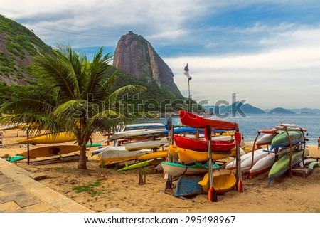 Mountain Sugar Loaf and Red beach in Rio de Janeiro. Brazil