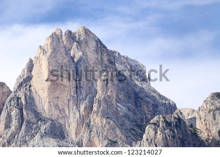 Mountain summit in the Dolomites (Italy)