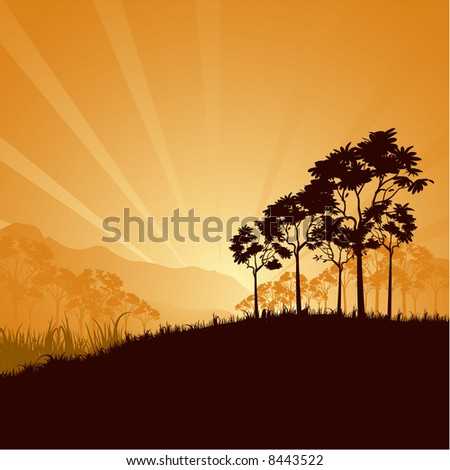Mountain sunrise. Vector