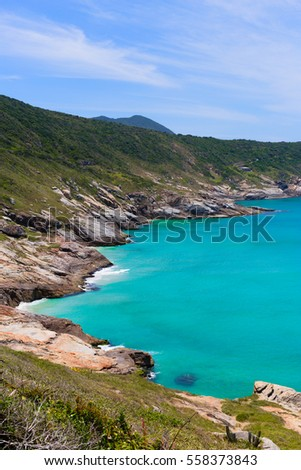 mountain terrain of wild coast of atlantic ocean in brazil with bright blue water, dreamlike destination of eco tourism