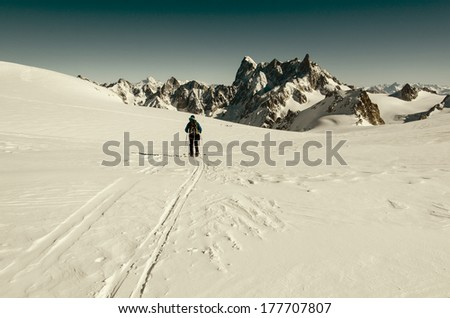 Mountain touring skiing, Vallee Blanche, Mont Blanc Massif, Western Alps, France, Europe.