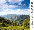 Mountain valley at sunny day. Great Smoky Mountains, Tennessee, USA - stock photo