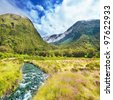 Mountain valley on the way to Milford Sound - stock photo