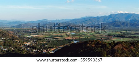 Mountain view point from wat thaton in mae ai Chiangmai the north of Thailand