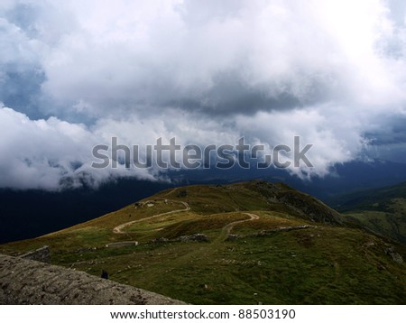 Mountains and clouds. Landscape
