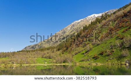 Mountains and lake in the Teberda reserve Karachay-Cherkess Republic.