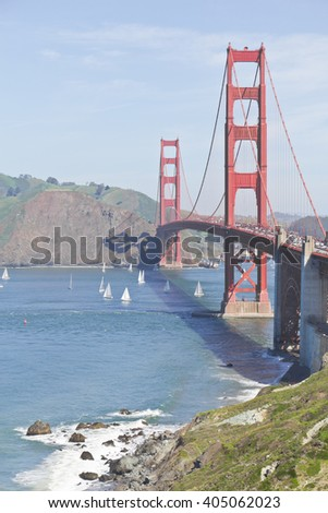 Mountains, boats, ocean and Golden Gate at San Francisco
