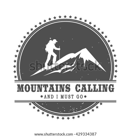 Climbing logo template vintage emblem mountains stock for The mountains are calling and i must go metal sign
