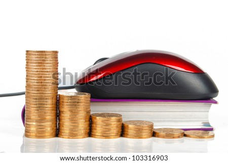 Mouse and coin with book on white background