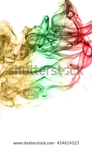 Movement of smoke,Abstract red and green and brown smoke on white background, smoke background,red and green and brown ink background, red ,green, brown
