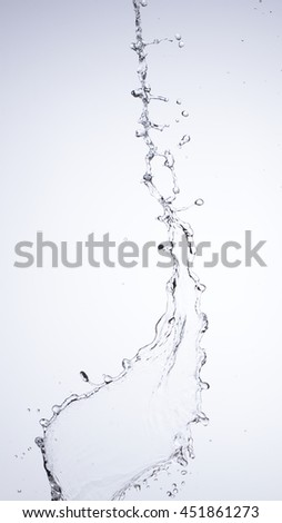 Moving water on white background, jets and drops
