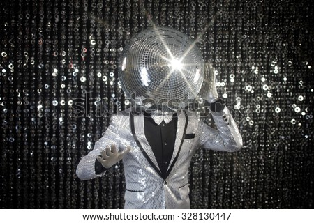 mr discoball. a super cool disco club character against sparkling background