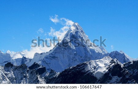 Mt. Ama Dablam in the Everest Region of the Himalayas, Nepal.