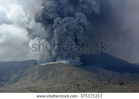 Mt. Bromo volcano  erupts in Java, Indonesia