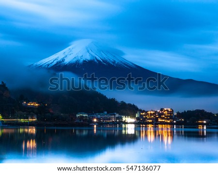 Mt.Fuji before sunrise at Lake Kawaguchi - Japan