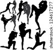 Muay Thai (Thai Boxing) fight and Wai Kru Ram Muay (traditional dance before fight) silhouettes. Raster version. - stock vector