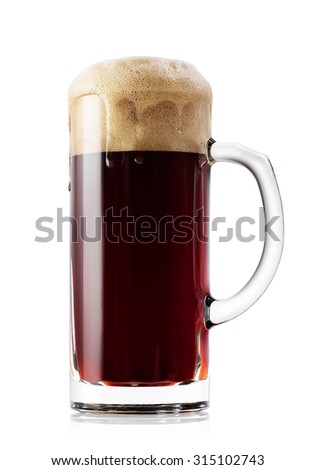 Mug of dark fresh beer isolated on a white background