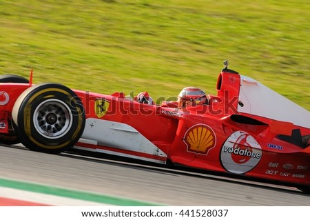 MUGELLO, IT, November, 2015:unknown run with Ferrari F1 during Finali Mondiali Ferrari 2015 into the mugello circuit in italy