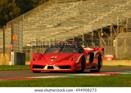 MUGELLO, ITALY - NOVEMBER, 2013: Unknown Drive Ferrari FXX during XX Programmes of FINALI MONDIALI FERRARI - Ferrari Racing Days in Mugello Circuit, Italy